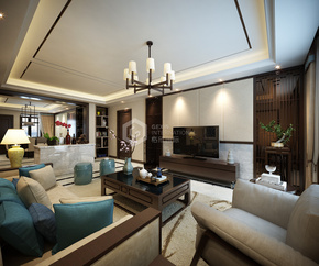 首创漫香郡新中式风格客厅装修效果图