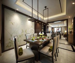 首创漫香郡新中式风格餐厅装修效果图