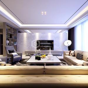 白桦林间现代简约客厅效果图