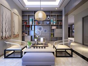 白桦林间现代简约茶室效果图