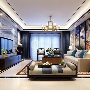 海珀香庭新中式客厅装修效果图