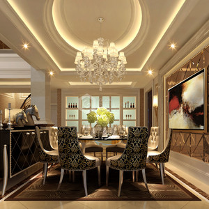 白桦林间欧式新古典餐厅效果图
