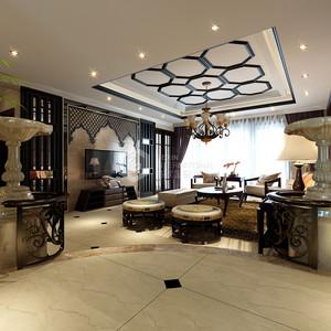 鸿基紫韵现代奢华客厅效果图